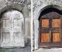 Porte d'entrée des escaliers à l'italienne, avant/après restauration
